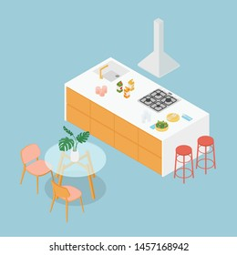 Isometric kitchen in blue. Vector illustration in flat design, isolated.