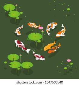 Isometric Koi Fish on Lotus Pond