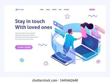 Isometric landing page design concept on the theme stay always in touch with your loved ones. For advertising concepts and web design development