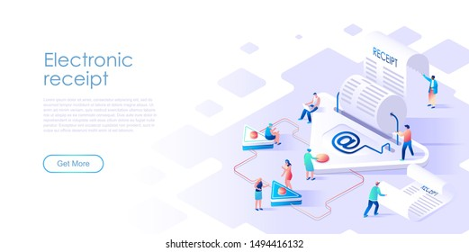 Isometric landing page electronic receipt or invoice flat concept. Digital bill for mobile internet banking for website or homepage. Isometric vector illustration template.