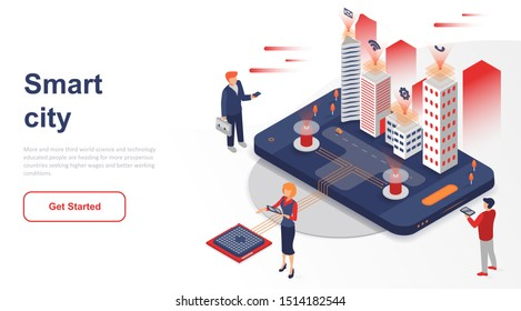 Isometric landing page smart city or intelligent flat concept. Building automation with computer networking for website or homepage. Isometric vector illustration template.