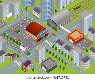 Isometric landscapes with city buildings, parks, plains. Set of detailed city buildings. 3d map