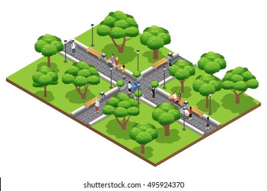 Isometric landscaping composition with people walking in green park in summer on white background vector illustration