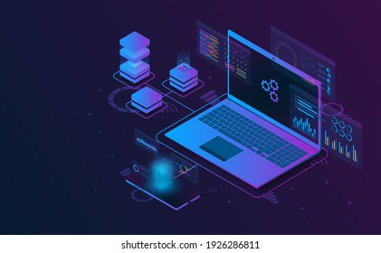 Isometric laptop analysis information connect with smartphone and server.Futuristic concept.vector and illsutration
