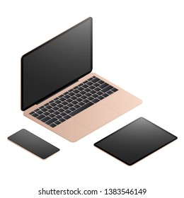 Isometric laptop computer with smart phone infographic elements.