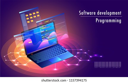 Isometric laptop with multiple screen, store and save folder on shiny purple sci-fi background for Software development programming landing page design.
