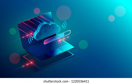 Isometric laptop or notebook with icon or symbol of cloud technology. Progress upload and download data information in cloud storage of corporation network and sharing of data . Conceptual banner.