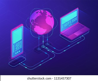 Isometric laptop and smartphone connectected with globe. Cloud operation, storage and communication technology. Big data and synchronization concept 3D isometric illustration on ultraviolet background