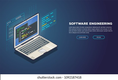Isometric laptop with software for development. Soft, web or game development software. Web pages and window, binary code, and site. Coding notebook concept.