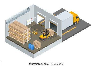 Isometric large modern warehouse with forklifts and truck. Interior of a modern warehouse in time with the staff. Warehouse and storage flat isolated vector illustration.
