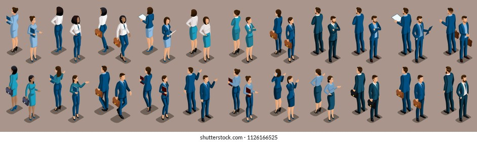 Isometric large set of businessmen and business woman, front view and rear view, vintage background vector illustration