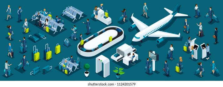 Isometric large set of passengers with airport symbols for illustrations, business ladies and businessmen with luggage front and back view.