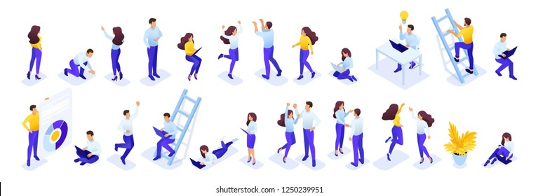 Isometric a large set of people to create their own illustration on the topic of learning. Easy to use and edit