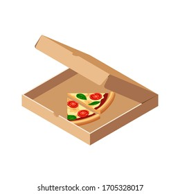 Isometric last slices of pizza margherita with tomato, cheese, basil in opened box isolated on white background. 3d italian fast food icon. Flat vector illustration for web, advert, menu design, app