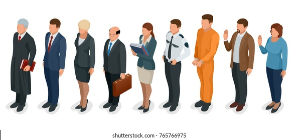Isometric Law and Justice. People present in court judge, clerk, translator, lawyer, witness, plaintiff, defendant, stenographer, prosecutor, defendant, police officer Vector illustration