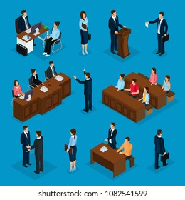 Isometric lawyers collection with attorney talking with client giving speech on court judge jury trial isolated vector illustration