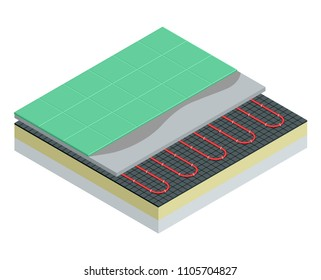 Isometric layers of floor heating system partly under ceramic tiles. Underfloor heating vector illustration.
