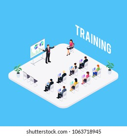 Isometric learning concept isolated on a blue background. 3d room for training with people and furniture. People at business training. Vector illustration.