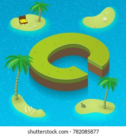 Isometric letter C, surrounded by tropical islands with pirates attributes. Vector illustration with C, part of isometric 3D font. Sea, beach, palms and pirates stuff: skull, treasure and rum bottle