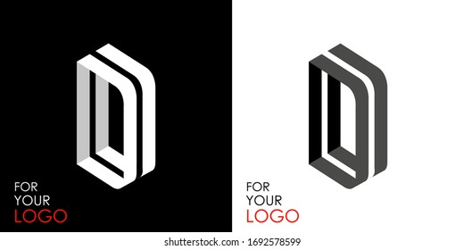 Isometric letter D. From stripes, lines. Template for creating logos, emblems, monograms. Black and white options. 3D art symbol. Vector illustration