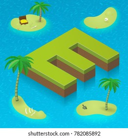 Isometric letter E, surrounded by tropical islands with pirates attributes. Vector illustration with E, part of isometric 3D font. Sea, beach, palms and pirates stuff: skull, treasure and rum bottle