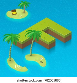 Isometric letter F, surrounded by tropical islands with pirates attributes. Vector illustration with F, part of isometric 3D font. Sea, beach, palms and pirates stuff: skull, treasure and rum bottle