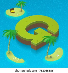 Isometric letter G, surrounded by tropical islands with pirates attributes. Vector illustration with G, part of isometric 3D font. Sea, beach, palms and pirates stuff: skull, treasure and rum bottle
