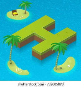 Isometric letter H, surrounded by tropical islands with pirates attributes. Vector illustration with H, part of isometric 3D font. Sea, beach, palms and pirates stuff: skull, treasure and rum bottle