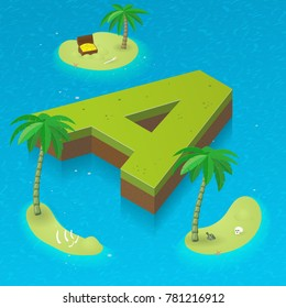 Isometric letter A as an island in the Caribbean Sea. Vector illustration with 3D  letter A. Sea, beach, palms and pirates's island attributes.