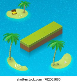 Isometric letter i as an island in the Caribbean Sea. Vector illustration with 3D letter i as part of isometric 3D font. Sea, beach, palms and pirates's island attributes.
