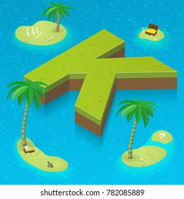 Isometric letter K, surrounded by tropical islands with pirates attributes. Vector illustration with K, part of isometric 3D font. Sea, beach, palms and pirates stuff: skull, treasure and rum bottle