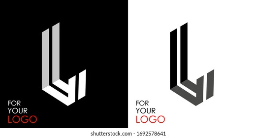 Isometric letter L. From stripes, lines. Template for creating logos, emblems, monograms. Black and white options. 3D art symbol. Vector illustration