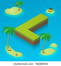 Isometric letter L, surrounded by tropical islands with pirates attributes. Vector illustration with L as part of isometric 3D font. Sea, beach, palms and pirates stuff: skull, treasure and rum