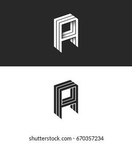 Isometric letter A logo hipster 3d monogram. AAA initials mockup. Perspective geometric shape typography hipster design element template for business or wedding card emblem.