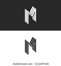 Isometric letter M logo, 3D lines geometric shape, perspective form identity creative MMM emblem for business card
