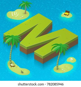 Isometric letter M, surrounded by tropical islands with pirates attributes. Vector illustration with M as part of isometric 3D font. Sea, beach, palms and pirates stuff: skull, treasure and rum