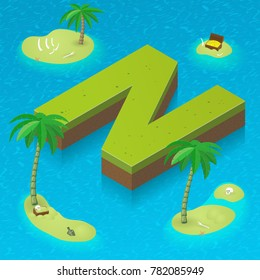 Isometric letter N, surrounded by tropical islands with pirates attributes. Vector illustration with N as part of isometric 3D font. Sea, beach, palms and pirates stuff: skull, treasure and rum