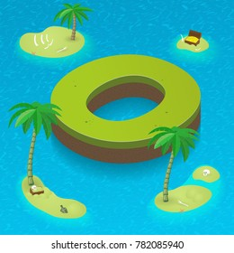 Isometric letter O, surrounded by tropical islands with pirates attributes. Vector illustration with O as part of isometric 3D font. Sea, beach, palms and pirates stuff: skull, treasure and rum