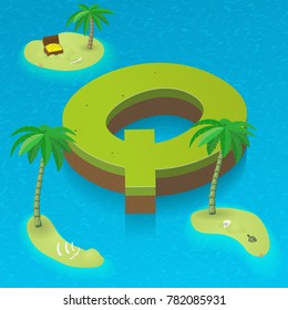 Isometric letter Q, surrounded by tropical islands with pirates attributes. Vector illustration with Q as part of isometric 3D font. Sea, beach, palms and pirates stuff: skull, treasure and rum