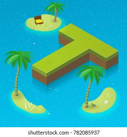 Isometric letter T, surrounded by tropical islands with pirates attributes. Vector illustration with T as part of isometric 3D font. Sea, beach, palms and pirates stuff: skull, treasure and rum