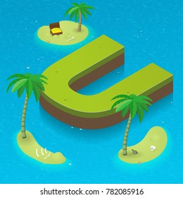 Isometric letter U, surrounded by tropical islands with pirates attributes. Vector illustration with U as part of isometric 3D font. Sea, beach, palms and pirates stuff: skull, treasure and rum