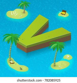 Isometric letter v as an island in the Caribbean Sea. Vector illustration with 3D letter v as part of isometric 3D font. Sea, beach, palms and pirates's island attributes.