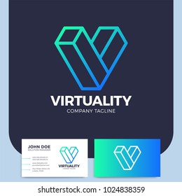 Isometric letter v logo design template virtual reality logotype graphic cyberspace