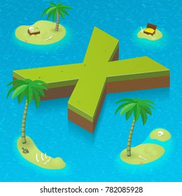 Isometric letter x as an island in the Caribbean Sea. Vector illustration with 3D letter x as part of isometric 3D font. Sea, beach, palms and pirates's island attributes.