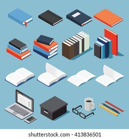 Isometric library and educational equipment vector set: paper, different types of books, stack of books, pen, pencil, bookmarks, laptop, glasses, box, open book and textbook.