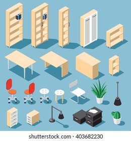 Isometric light brown office furniture set. Collection includes tables, shelves, bureau, cabinet, locker, lamps, chairs, houseplants, paper box and cactus. Stock vector.