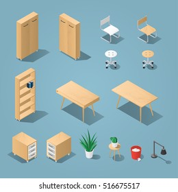 Isometric light brown office furniture set. Collection includes tables, shelves, bureau, cabinet, locker, lamps, chairs, houseplants, trash bin and cactus. Stock vector.