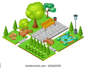 Isometric light park landscape template with green trees bushes lily flowers in pond bench bridges vector illustration