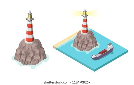 Isometric lighthouse on rock and ship vector isolated