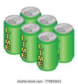 Isometric Lime Soda Can Six Pack